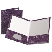 Oxford® Marble Laminated Twin Pocket Folders, Purple/Purple, 25/Box (51626)