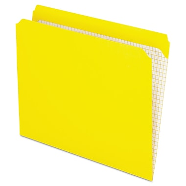 Pendaflex® Double-Ply Reinforced Top Tab Colored File Folders, Letter, Yellow, 100/Box (R152YEL)