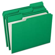 Pendaflex® Double-Ply Reinforced Top Tab Colored File Folders, Letter, Bright Green, 100/Box (R15213BGR)