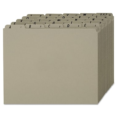 Pendaflex® Top Tab A-Z File guides Letter, Gray, 1/Set (PN925)