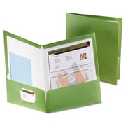 Oxford® Metallic Laminated Twin Pocket Folders, Green/Green, 25/Box (5049560)