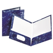 Oxford® Marble Laminated Twin Pocket Folders, Navy/Navy, 25/Box (51643)