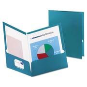 Oxford® Metallic Laminated Twin Pocket Folders, Teal/Teal, 25/Box (5049561)