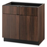 "HON® Modular Hospitality Double Base Cabinet, 2 Drawers, 36"" x 36"", Columbian Walnut (HONHPBC2D2D36Z)"