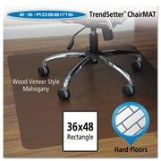 "ES Robbins® Wood Veneer Style Chair Mat for Hard Floors, 36"" X 48"", Hard Floors, Mahogany (119389)"