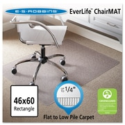 "ES Robbins® EverLife™ Chair Mats for Flat to Low Pile Carpet, 46"" X 60"", Carpets, Clear (120321)"