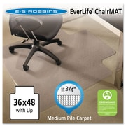 "ES Robbins® EverLife™ Chair Mats For Medium Pile Carpet, 36"" X 48"", Carpets, Clear (122073)"