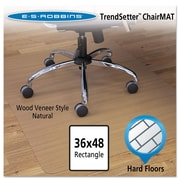 "ES Robbins® Wood Veneer Style Chair Mat for Hard Floors, 36"" X 48"", Hard Floors, Natural (119386)"