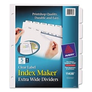 Avery® Index Maker® Print & Apply Clear Label Dividers with White Tabs, Paper, White, 11 1/4 x 9 1/4, 5-Tab, 1/Set (11438)