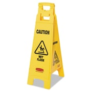 "Rubbermaid® Commercial ""Caution Wet Floor"" 4-Sided Floor Sign, 12 """" x 38 "", Plastic, Yellow, Each (RCP 6114-77 YEL)"