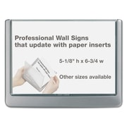 "Durable® Click Sign Holder For Interior Walls, 6 3/4"" x 5 1/8"", ABS Plastic, Graphite, Each (4977-23)"