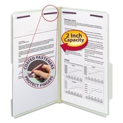 Smead® Expanding Recycled Pressboard Folders With SafeSHIELD  Coated Fasteners, Legal, Gray-Green, 25/Box (19982)