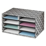 "Bankers Box® Decorative Literature Sorter, 19 1/2"" x 12 3/8"" x 10 1/4"", White/Black Brocade, Each (FEL6171301)"