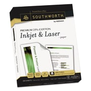 Southworth® Premium 25% Cotton Inkjet and Laser Paper, 8 1/2 x 11, Wicked White, 250/Pack (J344C)
