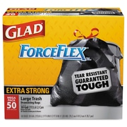 Glad® Drawstring Large Trash Bags Trash Bags, 1.1 mil Thickness, Black, 30 gal, 200/Carton (CLO 78539)