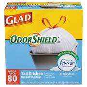 Glad® OdorShield® Tall Kitchen Drawstring Trash Bags, 0.78 mil Thickness, White, 13 gal, 80/Box (CLO 78534)