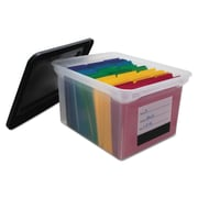 Innovative Storage Designs File Tote with Contents Label, Letter/Legal, Black/Clear, Each (AVT-55802)