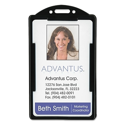 """""Advantus ID Card Holders, Black, 2 1/8"""""""" x 3 3/8"""""""", 25/Pack (75657)"""""" AVT75657"
