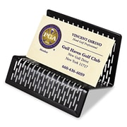 Artistic®, Urban Collection Punched Metal Business Card Holder, Holds 50 2 x 3 1/2, Black, Each (ART20001)
