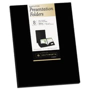 Southworth® Two-Pocket Presentation Folders, 9 x 12, Black, 8/Pack (98870)