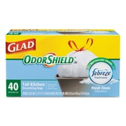 Glad® OdorShield® Tall Kitchen Drawstring Bags Trash Bags, 0.78 mil (body) Thickness, White, 13 gal, 6/Carton (CLO 78361)