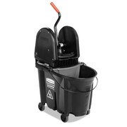 "Rubbermaid® Commercial Executive WaveBrake™ Down-Press Mop Bucket, 16 1/8"" x 21.25"" x 27 3/8"", 35 qt, Black (1863898)"
