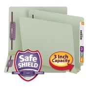 Smead® End Tab Expansion Pressboard File Folders With SafeSHIELD  Coated Fasteners, Letter, Gray-Green, 25/Box (34725)