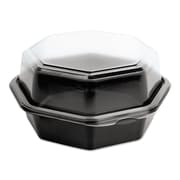 SOLO® Cup Company OctaView® Hinged-Lid Cold Food Containers, 18 oz, Black/Clear, 200/carton (SCC 862611-PS94)