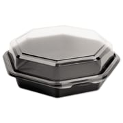 SOLO® Cup Company OctaView® Hinged-Lid Cold Food Containers, 28 oz, Black/Clear, 100/carton (SCC 865612-PS94)