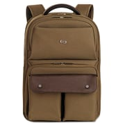 "SOLO® Executive Laptop Backpack, Polyester, 11 1/2"" x 5 1/4"" x 18 1/8"", Khaki/Brown (VTA730-11)"
