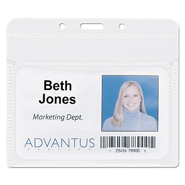 Advantus® PVC-Free Badge Holders, Clear, 4