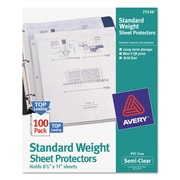 Avery® Standard and Economy Weight Clear and Semi-Clear Sheet Protector, Semi-Clear, (75536)