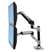 Ergotron® LX Dual Stacking Arm, Polished Aluminum/Black (45248026)