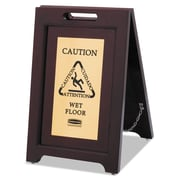 Rubbermaid Commercial Executive 2 Sided Multi Lingual Wooden Caution Sign, 15 inch x 23 1/2 inch , Wood, Brown, Each (RCP 1867507)