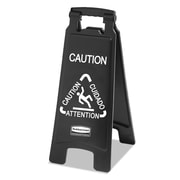 Rubbermaid Commercial Executive 2 Sided Multi Lingual Caution Sign, 10 9/10 inch x 26 1/10 inch , Plastic, Black, Each (RCP 1867505)