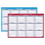 AT-A-GLANCE® Horizontal Erasable Wall Planner, 2015-2016; 2016, 36 x 24, Blue/White; Red/White (PM200S2813)