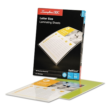 Swingline™ GBC® SelfSeal™ Self Adhesives Laminating, 3 mil, 9 x 12, 50/Pack (3747307B)