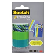 "Scotch® Expressions Magic™ Tape, Tropic Wave; Lime Green; Turquoise, Glues/Adhesives, 3/4"" x 300"", 3/Pack (C2143PKJK2)"