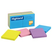 "Highland™ 3"" x 3"" Sticky Note Pads, 100 Sheets, Assorted Brights, 12/Pack (6549-B)"