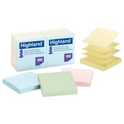 Highland™ Self-Stick Notes, 100 Sheets, Assorted Pastels, 12/Pack (6549-PUA)