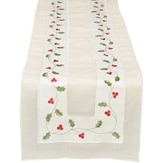 Xia Home Fashions Classic Holly Embroidered Cutwork Holiday Table Runner; 54'' W x 15'' D