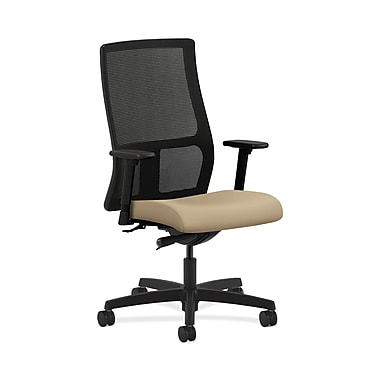 HON® Ignition Mid-Back Mesh Task Chairs, Synchro-Tilt, Adjustable Arms, Buff Fabric