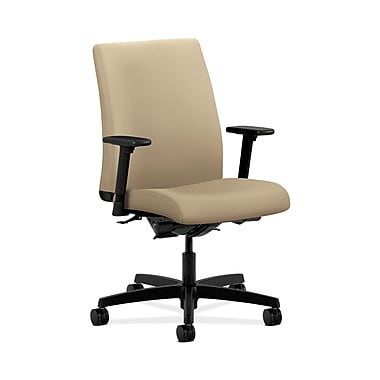 HON® Ignition Low-Back Task Chairs, Synchro-Tilt, Back Angle, Adjustable Arms, Buff Fabric