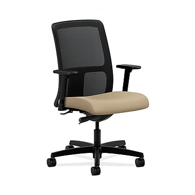 HON® Ignition Low-Back Mesh Task Chairs, Synchro-Tilt, Adjustable Arms, Buff Fabric