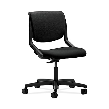 HON® Motivate Task Chairs, Upholstered Back, Onyx Shell, Tectonic Fabric