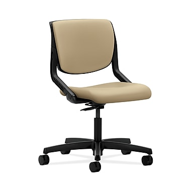 HON® Motivate Task Chairs, Upholstered Back, Onyx Shell, Buff Fabric