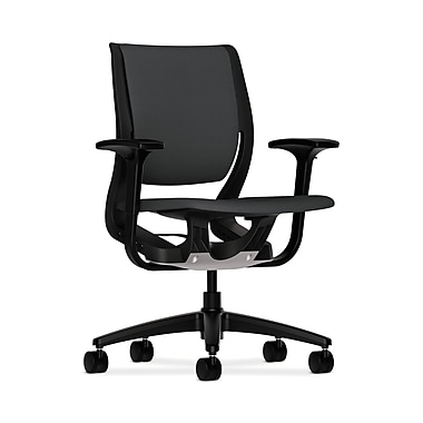 HON® Purpose Mid-Back Chairs, YouFit Flex Motion, Adjustable Arms, Onyx Shell, Base, Carbon Fabric