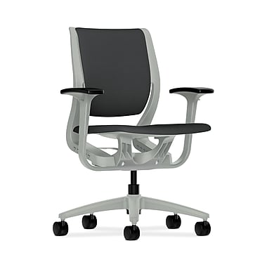 HON® Purpose Mid-Back Chairs, YouFit Flex Motion, Adjustable Arms, Platinum Shell, Platinum Base, Carbon Fabric