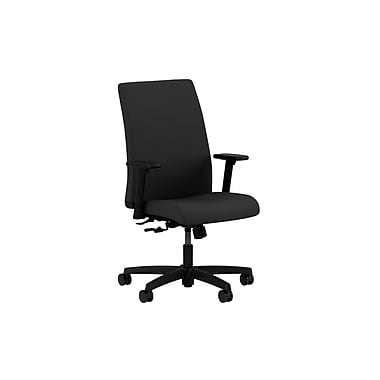 HON® Ignition Mid-Back Task Chairs, Center-Tilt, Adjustable Arms, Fabric