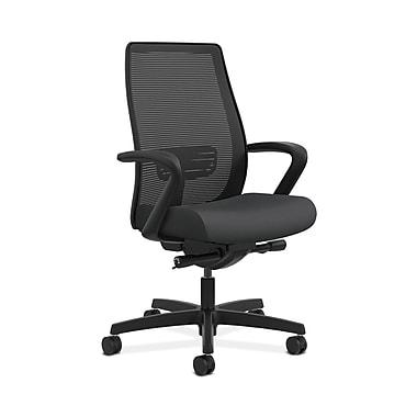 HON® Endorse Mesh Mid-Back Task Chairs, Built-In Lumbar, Synchro-Tilt, Seat Glide, Fixed Arms, Silvertex Vinyl Carbon